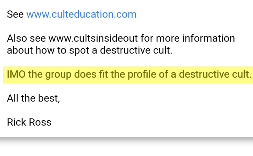 Rick Ross of the Cult Education Institute believes that Teal Swan fits the profile of a destructive cult